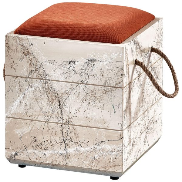 kutu puf beyaz mermer